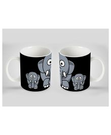 Stybuzz Kids Ceramic Mug Elephant Print White & Black 300 ml - Single Piece