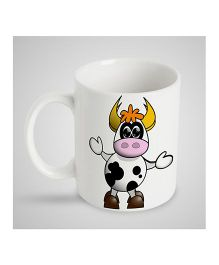 Stybuzz Kids Ceramic Mug Cow Print White - 300 ml