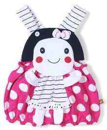 Wow Sleeveless Dungaree Polka Dot Print - Pink