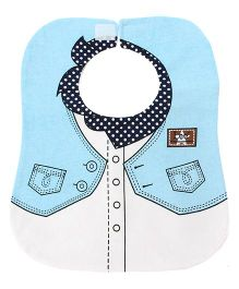 Little Hip Boutique Collar Print Bib - Blue
