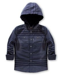 LEVIS Full Sleeves Check Hooded Shirt - Blue
