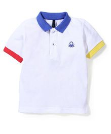 UCB Half Sleeves Polo T-Shirt Logo Embroidery - White