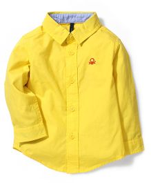 UCB Full Sleeves Plain Shirt Logo Embroidery - Yellow