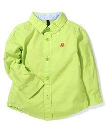 UCB Full Sleeves Plain Shirt Logo Embroidery - Light Green