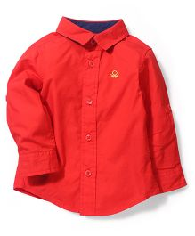 UCB Full Sleeves Plain Shirt Logo Embroidery - Red