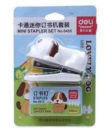 Deli Puppy Shape Mini Stapler Set - White