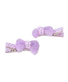 Kid-o-nation Dotted Bow Motif Hair Clips Set Of 2 - Purple