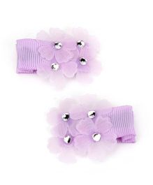 Kid-o-nation Alligator Clip Floral Applique - Purple