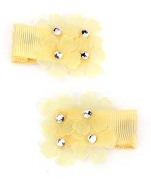 Kid-o-nation Alligator Clip Floral Applique - Yellow