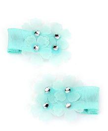 Kid-o-nation Alligator Clip Floral Motifs - Blue