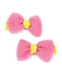 Kid-o-nation Alligator Clips Bow Applique - Pink and Yellow