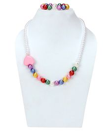 D'Chica Hearts & Colorful Pearls Jewelry Set - Multicolor