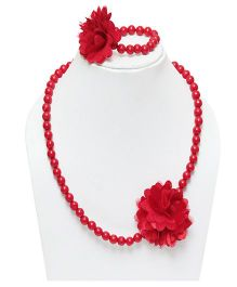 D'Chica Flower Beads Jewelry Set - Red