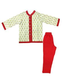 Little Pockets Store Printed Jacket & Bottom Set - Red