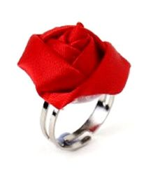 Sugar Candy Adjustable Rose Finger Ring - Red