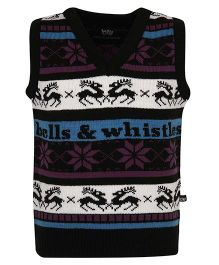 Bells and Whistles Sleeveless Sweater Floral Design - Black