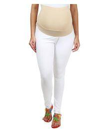 Kriti Ethnic Maternity Knit Full Length Leggings - White