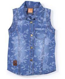Little Kangaroos Sleeveless Floral Printed Shirt - Blue