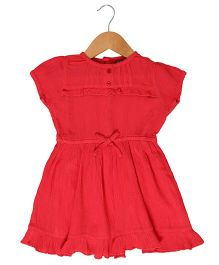 Sequences Rayon Gauze Frilled Dress - Red