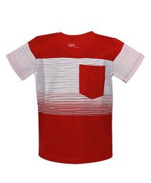 Bells and Whistles Striped Half Sleeves T-Shirt - Red