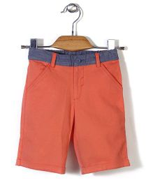 Beebay Contrast Waist Line Shorts - Orange