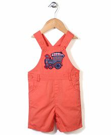 Beebay Dungaree With Engine Patch - Coral