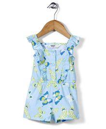 Beebay Sleeveless Butterfly Print Jumpsuit - Sky Blue