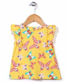 Beebay Flutter Sleeves Butterfly Print Top - Yellow