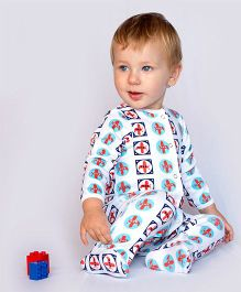 Bachha Essential Aeroplane Print Footie - Red & Blue
