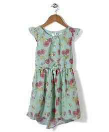 Beebay Cap Sleeves Floral Print Georgette Frock - Green