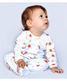 Bachha Essential Snail Print Footie - Red