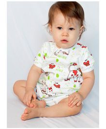 Bachha Essential Cow Print Romper - Red