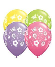 Planet Jashn Fun Flowers Latex Balloons - Pack of 10