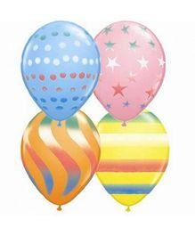 Planet Jashn Assorted Sprays Latex Balloons - Pack 10