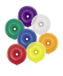 Planet Jashn Donut Shape Jewel Asst. Latex Balloons - Pack of 5