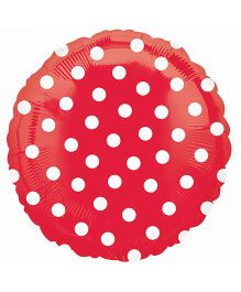 Planet Jashn Polka Dots Balloon - Red And White