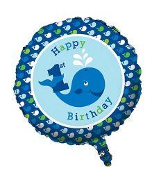Planet Jashn Ocean Preppy 1st Birthday Foil Balloon - Blue