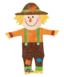 Planet Jashn Happy Scarecrow Supershape Balloon - Brown And Orange