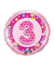 Planet Jash Number 3 Fairies Foil Balloon - Pink