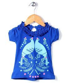 Pinehill Half Sleeves Top Peacock Print - Blue