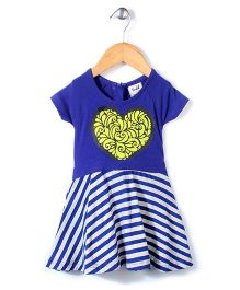 Pinehill Sleeveless Frock Heart Print - Blue