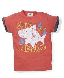 Pinehill Half Sleeves T-Shirt Gulf Of Mexico Print - Orange