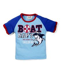 Pinehill Half Sleeves T-Shirt Boat Navy Print - Light Blue