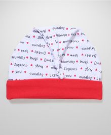 Ben Benny Heart Print Knotted Cap - White & Red
