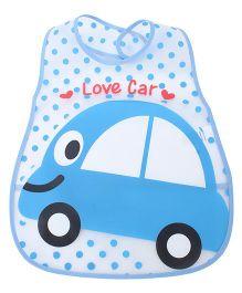 Babyhug Waterproof Plastic Crumb Catcher Bib Car Print - Blue and White
