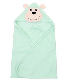 Ben Benny Monkey Face Patched Hooded Towel - Green