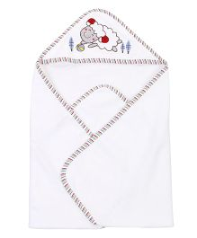 Ben Benny Sheep Embroidered Hooded Bath Towel - White
