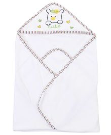 Ben Benny Animal Embroidered Hooded Bath Towel - White