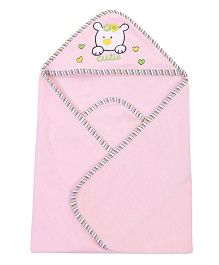 Ben Benny Animal Embroidered Hooded Bath Towel - Pink