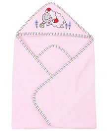 Ben Benny Sheep Embroidered Hooded Bath Towel - Pink